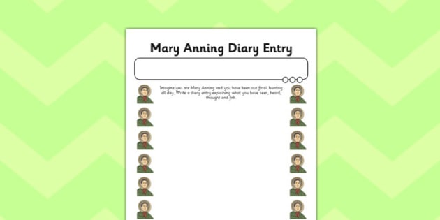 Mary Anning Diary Entry Plain Activity Sheet - activity, mary anning, diary, worksheet
