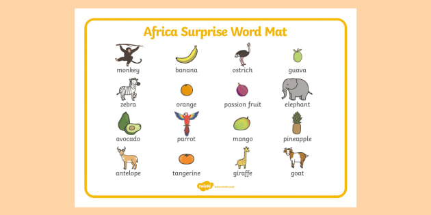 African Surprise Word Mat Images - words, literacy, aid, visual