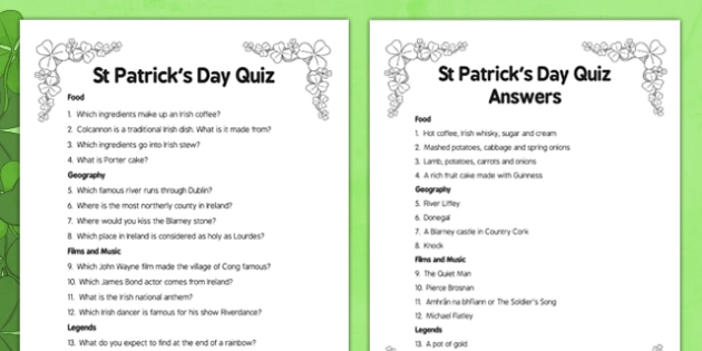 Elderly Care St Patrick's Day Quiz - Elderly, Reminiscence, Care Homes, St. Patrick's Day