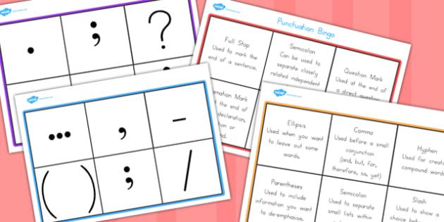 Punctuation Bingo - game, activity, activities, games, grammar