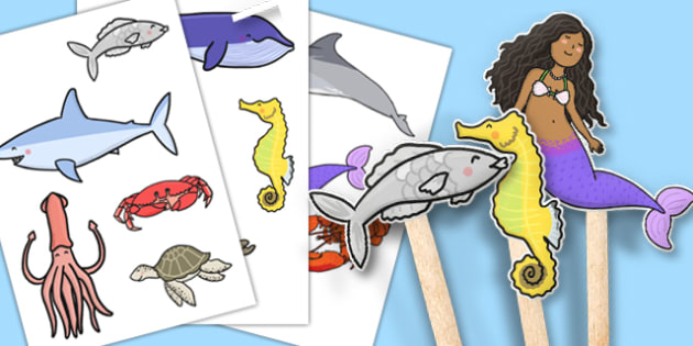 The Little Fish Stick Puppets - tiddler, early years, eyfs, nursery, reception, fish, under the sea, ocean, acting, role play, roleplay, small, world, play, puppet, theatre, retell