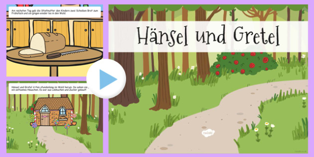 Hansel and Gretel Story PowerPoint German - german, hansel and gretel, storybook
