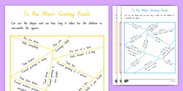 Greetings Puzzle Activity Sheet - Te Reo Māori Resources, worksheet