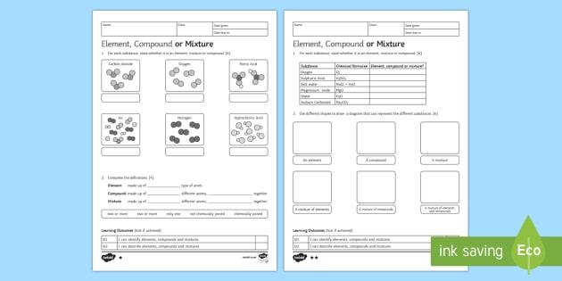 KS3 Element, Compound or Mixture Homework Activity Sheet - Homework, element, compound, mixture, bond, chemical, formulae, formula, atom, atoms