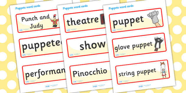 Puppet Word Cards - puppet, glove puppet, theathre, show, string puppet, word card, flashcard, cards, pinocchio, Punch and Judy, puppeteer, performance, strings, marionette