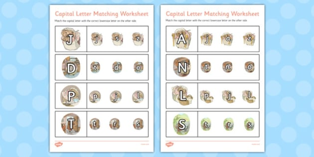 The Tale of Mrs Tiggy Winkle Themed Capital Letter Matching Worksheet