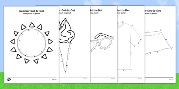 Summer Dot-To-Dots Romanian Translation - romanian, EYFS, Early Years, counting, fine motor skills, summer, holidays, dot-to-dot