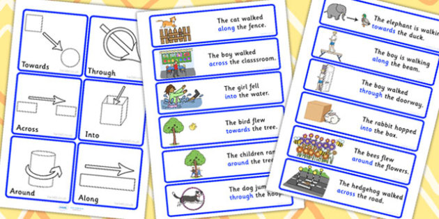 Directional Preposition Cards With Answers - position, SEN, card, prepositions