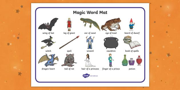 Magic Word Mat - witch, magic, word mat, writing aid, mat, wizard, spell, cauldron, wizard's tower