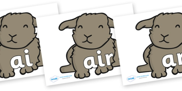 Phase 3 Phonemes on Rabbits - Phonemes, phoneme, Phase 3, Phase three, Foundation, Literacy, Letters and Sounds, DfES, display