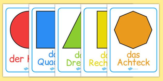 2D Shape Posters German - german, 2d shape, posters, display, 2d, shape, maths