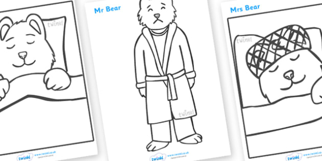 Peace at Last Colouring Sheets - Peace at Last, resources,  Jill Murphy, Large family, Mr Bear, Mrs Bear, Baby Bear, sleep, story, story book, story book resources, story sequencing, story resources, Colouring Sheets, colouring, colouring activity,