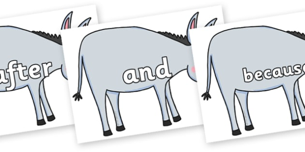 Connectives on Hullabaloo Donkey to Support Teaching on Farmyard Hullabaloo - Connectives, VCOP, connective resources, connectives display words, connective displays