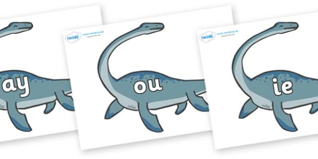 Phase 5 Phonemes on Plesiosaur - Phonemes, phoneme, Phase 5, Phase five, Foundation, Literacy, Letters and Sounds, DfES, display