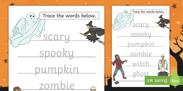 Halloween Themed Trace the Words Activity Sheet