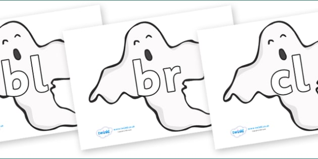 Initial Letter Blends on Ghosts (Plain) - Initial Letters, initial letter, letter blend, letter blends, consonant, consonants, digraph, trigraph, literacy, alphabet, letters, foundation stage literacy