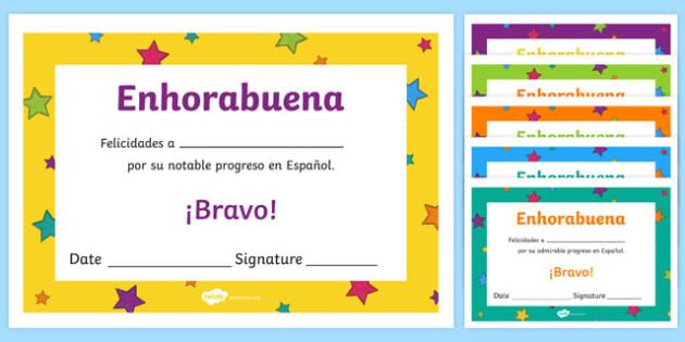 Spanish End of Year Progress Award Certificate