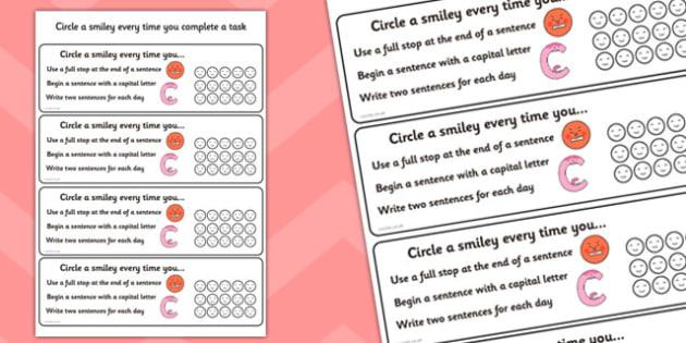 Sentence Writing Check Cards - sentence writing aid, sentence writing self assessment, self assessment cards, self assessment sentence writing check list