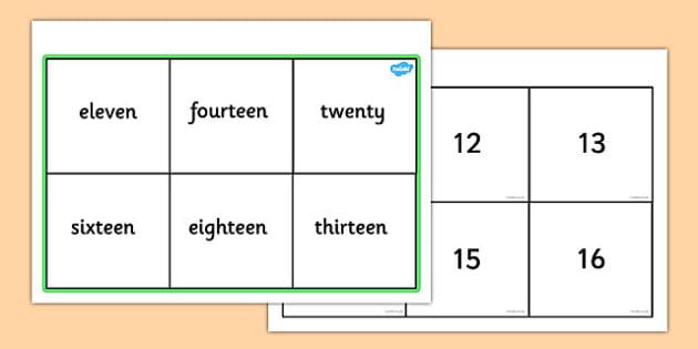 Number & Words Bingo (11-20) - number game, bingo, 0-10, Number names, Number words, Numerals, Foundation Numeracy, Number recognition, Number flashcards, numeracy, numbers, number names, numbers to 10, 1-10, bingo
