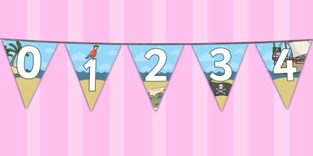 Pirate Themed 0-20 Bunting - pirate, bunting, display, themed