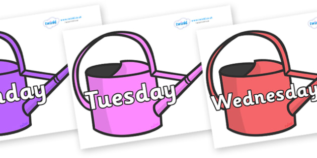 Days of the Week on Watering Cans - Days of the Week, Weeks poster, week, display, poster, frieze, Days, Day, Monday, Tuesday, Wednesday, Thursday, Friday, Saturday, Sunday