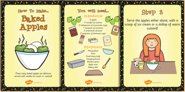 Baked Apple Recipe Cards - Baked, Apple, Food, Recipe, Cards