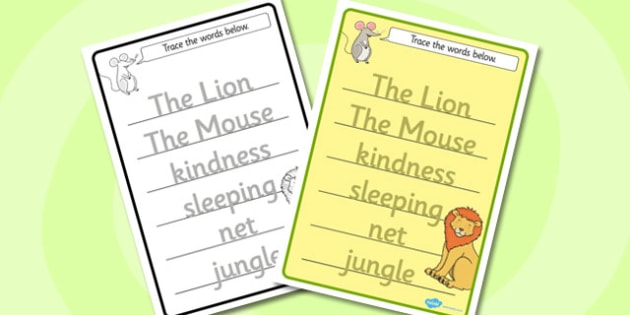 The Lion And The Mouse Trace the Words Worksheets - trace, words