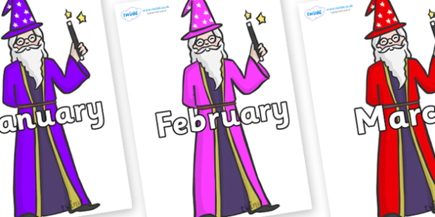 Months of the Year on Wizards - Months of the Year, Months poster, Months display, display, poster, frieze, Months, month, January, February, March, April, May, June, July, August, September