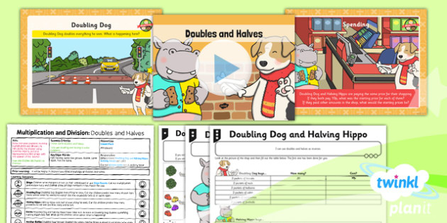 Planit Y1 Multiplication and Division Lesson Pack Doubles and Halves (3) - inverses, doubles, halves, doubling, halving, equal sharing, same size groups, multiplying and dividing by two, two times table, 2 x table, planning