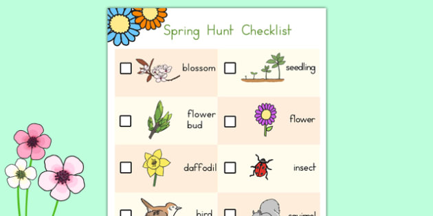 Spring Hunt Checklist - usa, america, spring, seasons, easter, hunt, easter hunt, objects hunt, can you see?, spring sensory walk checklist, walk checklist, spring walk checklist, spring hunt, spring search