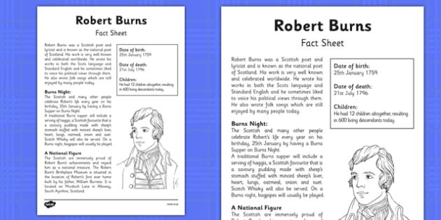 Robert Burns Factfile - robert burns, scottish, poetry, poet, scots, celebration