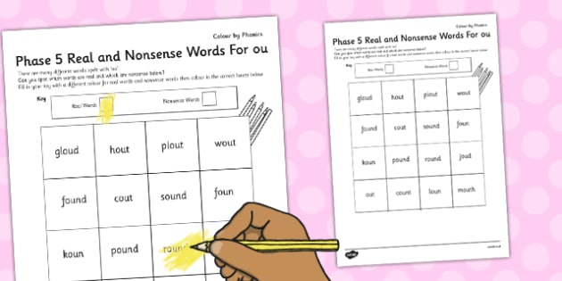 Phase 5 'ou' Colour by Phoneme Real and Nonsense Words - phase 5
