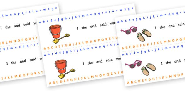 Alphabet Strips (Seaside) - Alphabet, Learning letters, Writing aid, Writing Area, holidays, water, tide, waves, sand, beach, sea, sun, holiday, coast