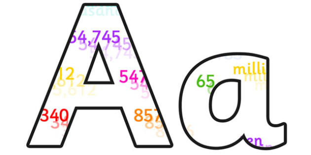 Place Values Lowercase Display Lettering - place values, place values display lettering, place values display letters, place values alphabet, maths display