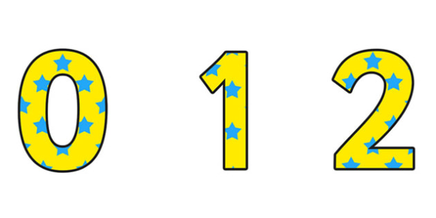 Yellow and Blue Stars Display Numbers - stars, display, numbers