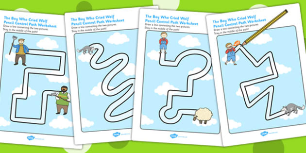 The Boy Who Cried Wolf Pencil Control Path Worksheets - stories