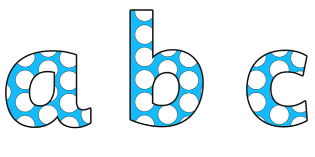 Blue and White Spotted Display Lettering (Small) - spotted display lettering, spotty display lettering, spotted alphabet lettering, spotty lettering