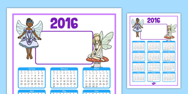 2016 Fairy Themed Editable Calendar - 2016, fairy, themed, editable, calendar