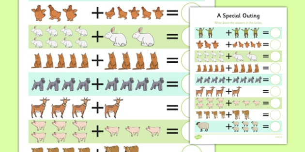 A Special Outing Up to 10 Addition Sheet - a special outing, my gumpy's outing, addition, 10