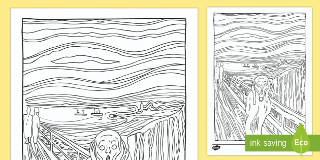 The Scream by Edvard Munch Lithograph Colouring Sheet - the scream, edvard munch, paint, painting, painter, artist, famous, lithograph