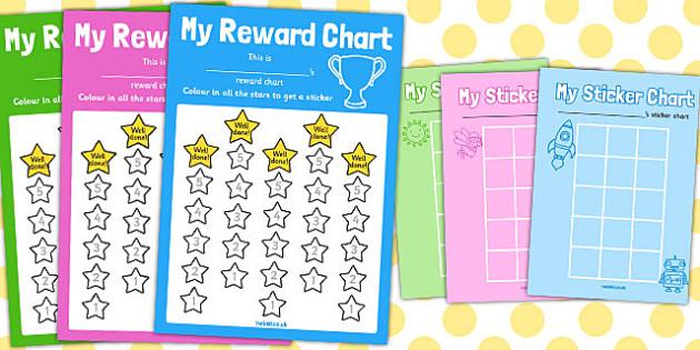 Reward Sticker Chart (Stars) - Reward Chart, reward sticker, School ...