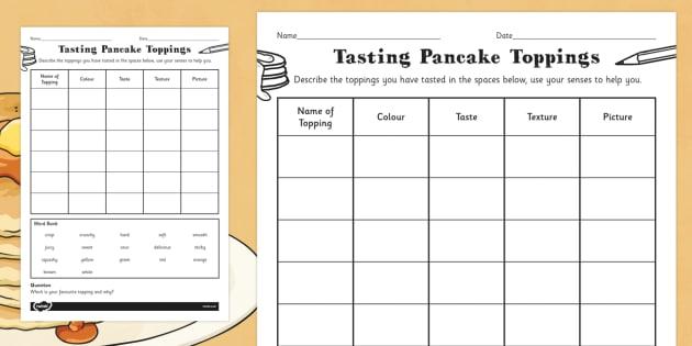 Tasting Pancake Toppings Activity Sheet - pancake, toppings, worksheet