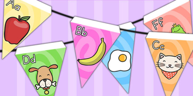 Alphabet Bunting Stick and Ball - alphabet, a-z, bunting, display