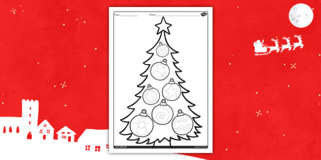 Christmas Tree Pencil Control Activity Sheet- christmas, pencil