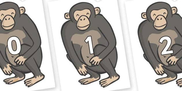 Numbers 0-31 on Chimps - 0-31, foundation stage numeracy, Number recognition, Number flashcards, counting, number frieze, Display numbers, number posters