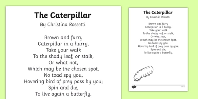 The Caterpillar by Christina Rossetti Poem Print-Out