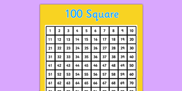 Hundred Board - Number square, hundred square, Counting, Numbers 0-100