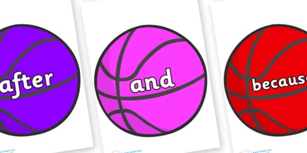 Connectives on Basketballs - Connectives, VCOP, connective resources, connectives display words, connective displays