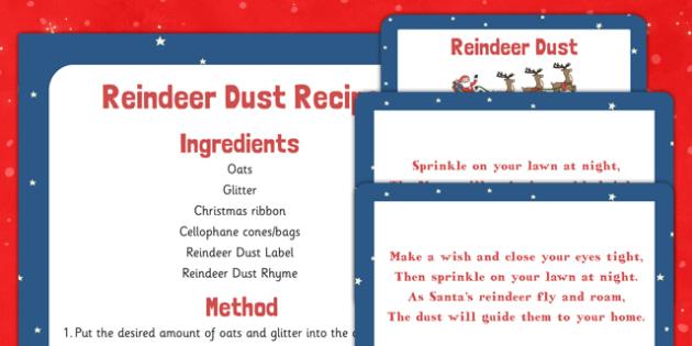Reindeer Dust Recipe and Resource Pack - reindeer, food, dust, magic, christmas
