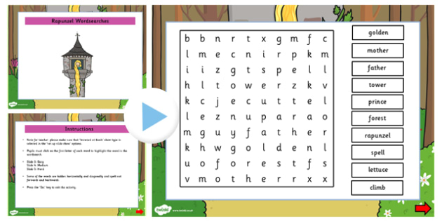 Rapunzel Interactive Wordsearch - rapunzel, wordsearch, words